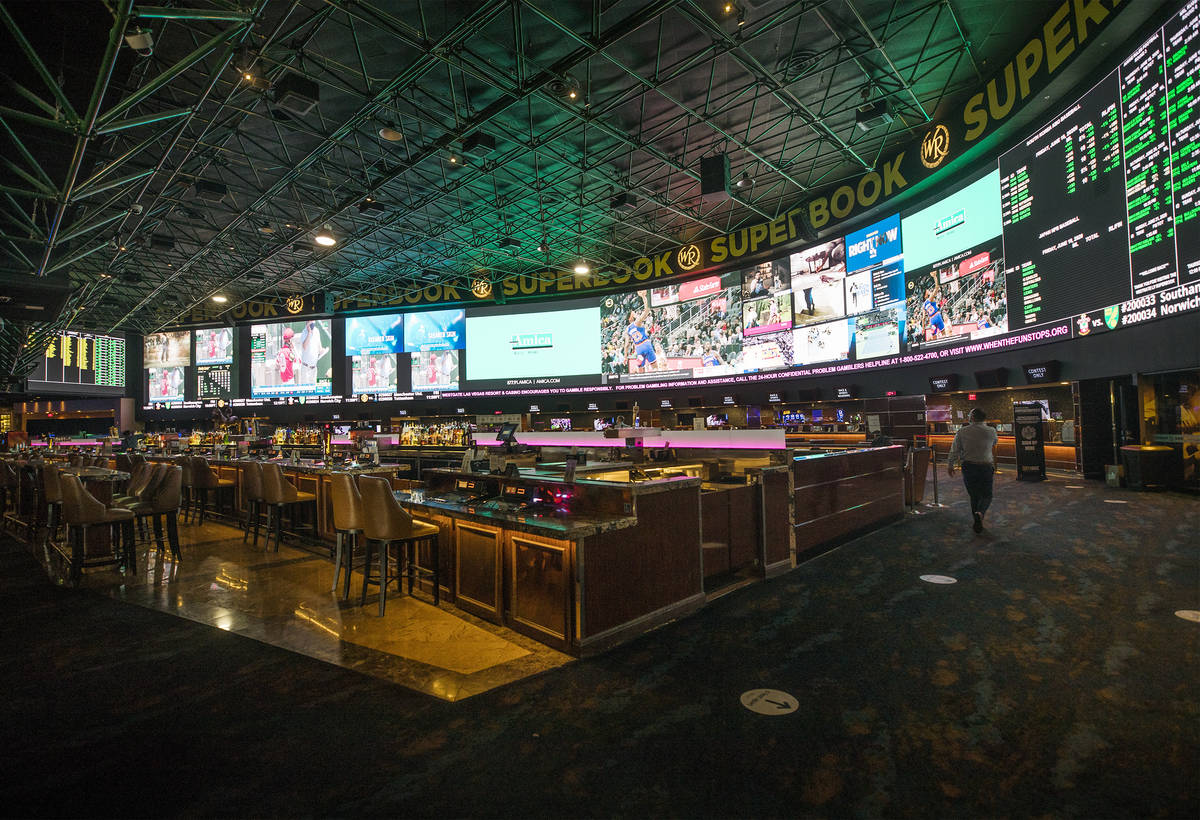The Westgate Sportsbook on the first day of the casino reopening after the coronavirus pandemic ...