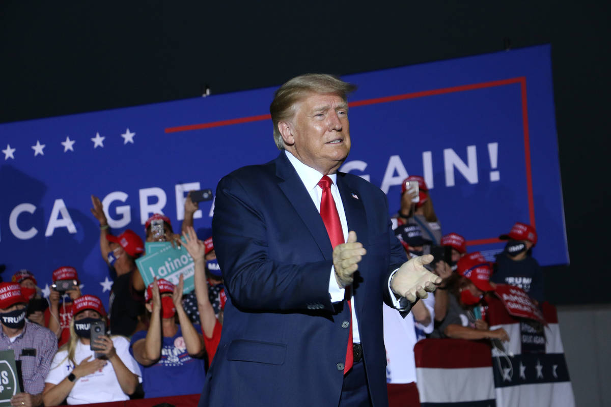 President Donald Trump holds a campaign rally at the Minden-Tahoe Airport in Nevada on Sept. 12 ...