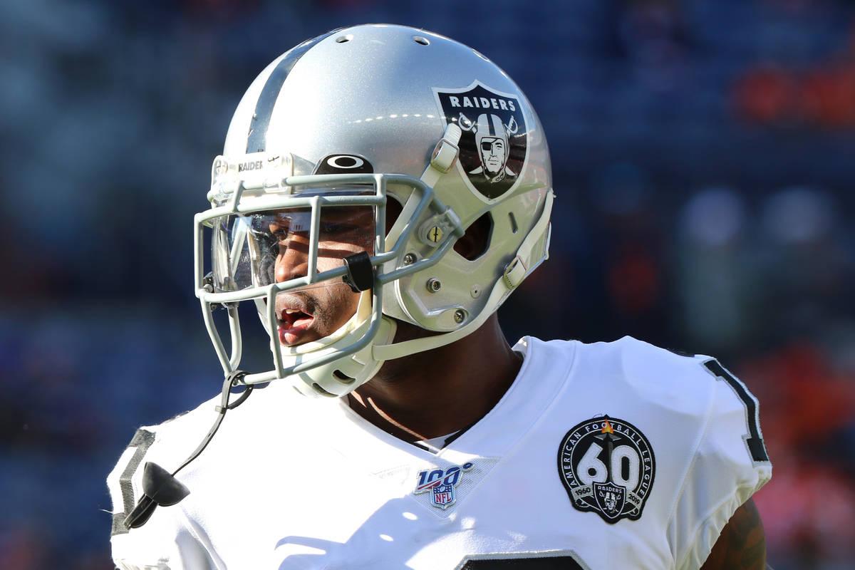Oakland Raiders wide receiver Rico Gafford (10) runs through warmup drills prior an NFL game at ...
