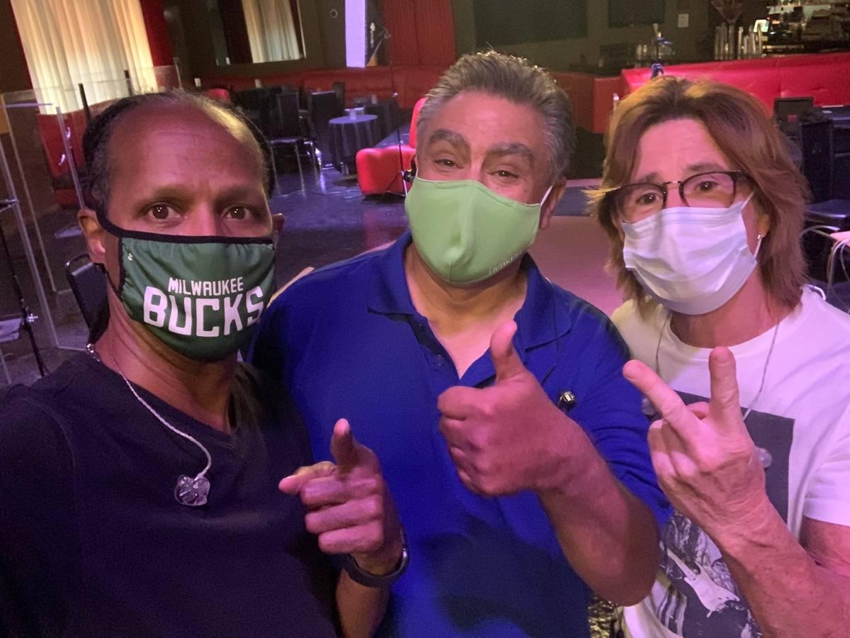 Tyriq Johnson, Lenny Lopez and Tony Davich, from left, of Santa Fe & The Fat City Horns are sho ...