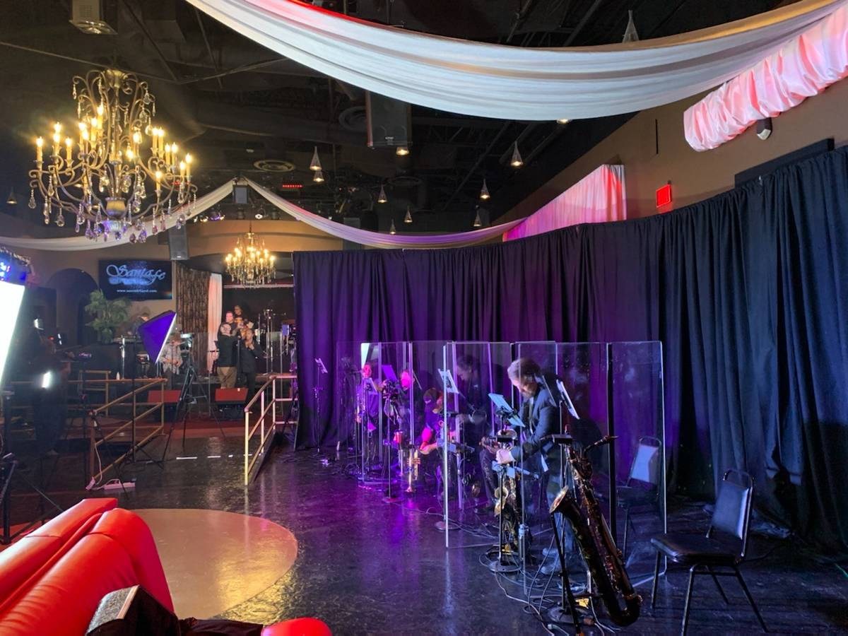 Staging for Santa Fe & The Fat City Horns is shown during a rehearsal at the Copa Room at Bootl ...