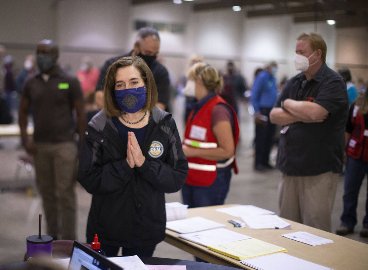 Oregon Governor Kate Brown toured the Oregon State Fairgrounds in Salem, Ore., Saturday afterno ...