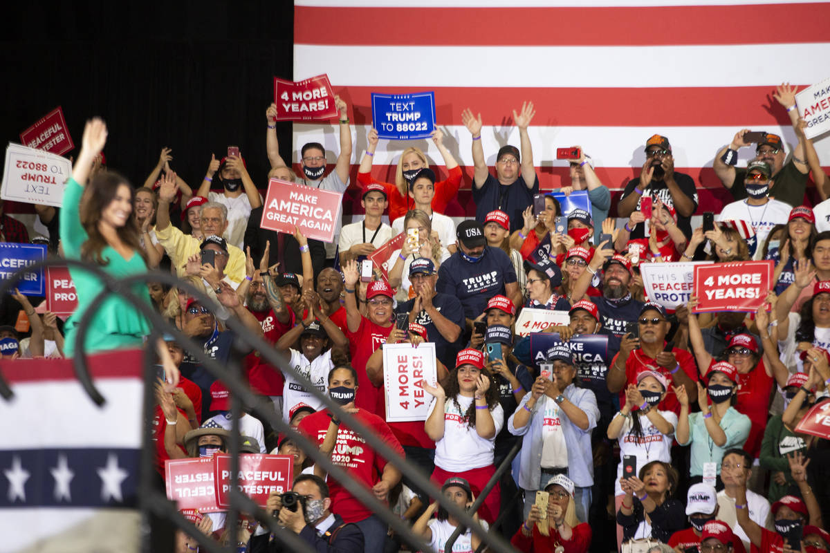 The crowd cheers as Kimberly Guilfoyle leaves the stage during a Trump campaign rally at Xtreme ...