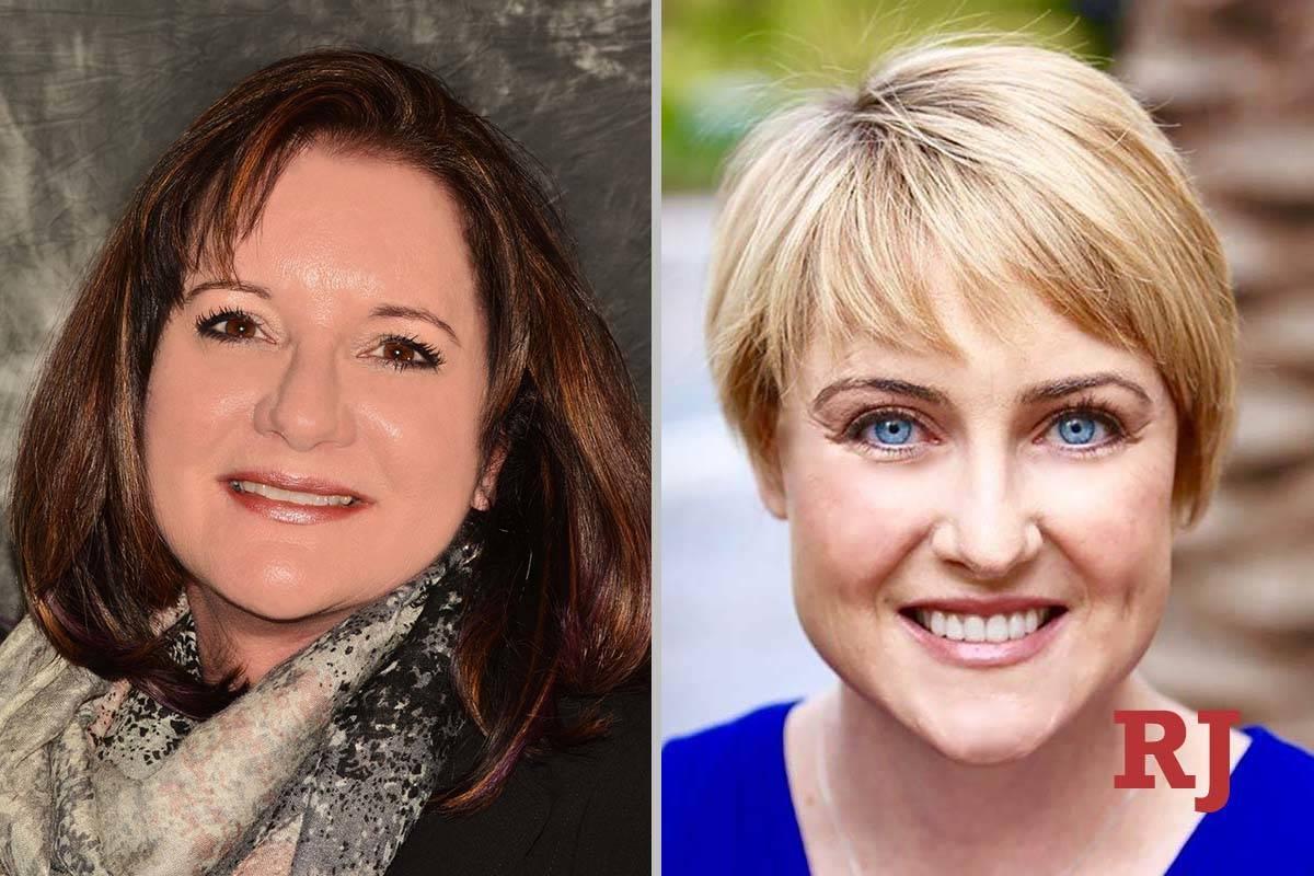 LisaGuzman, left, and LibertyLeavitt, candidates for Clark County School Board of T ...