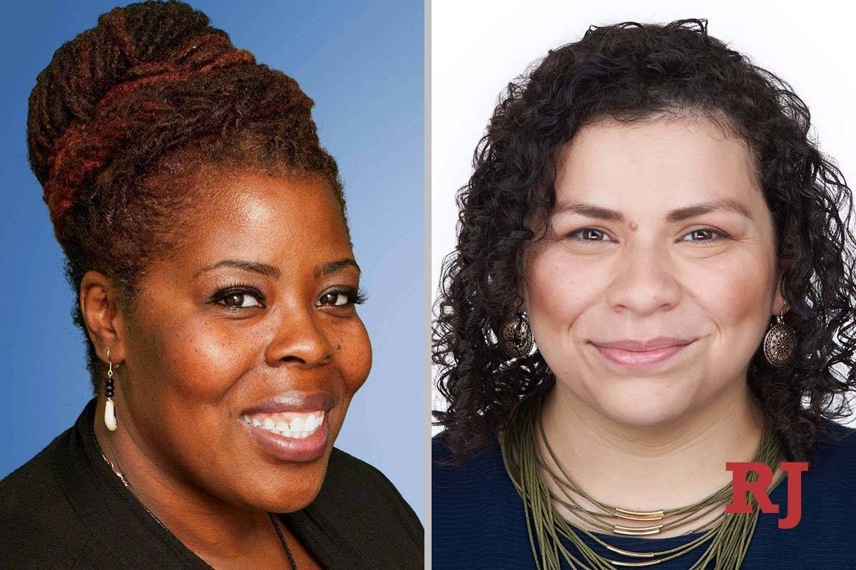TamekaHenry, left, and EvelynGarciaMorales, candidates for Clark County School District, ...