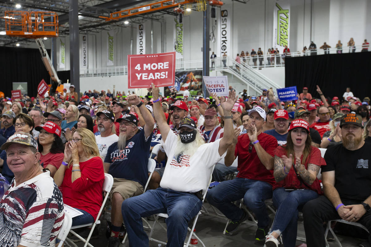 The crowd cheers for Kimberly Guilfoyle as she speaks during a Trump campaign rally at Xtreme M ...