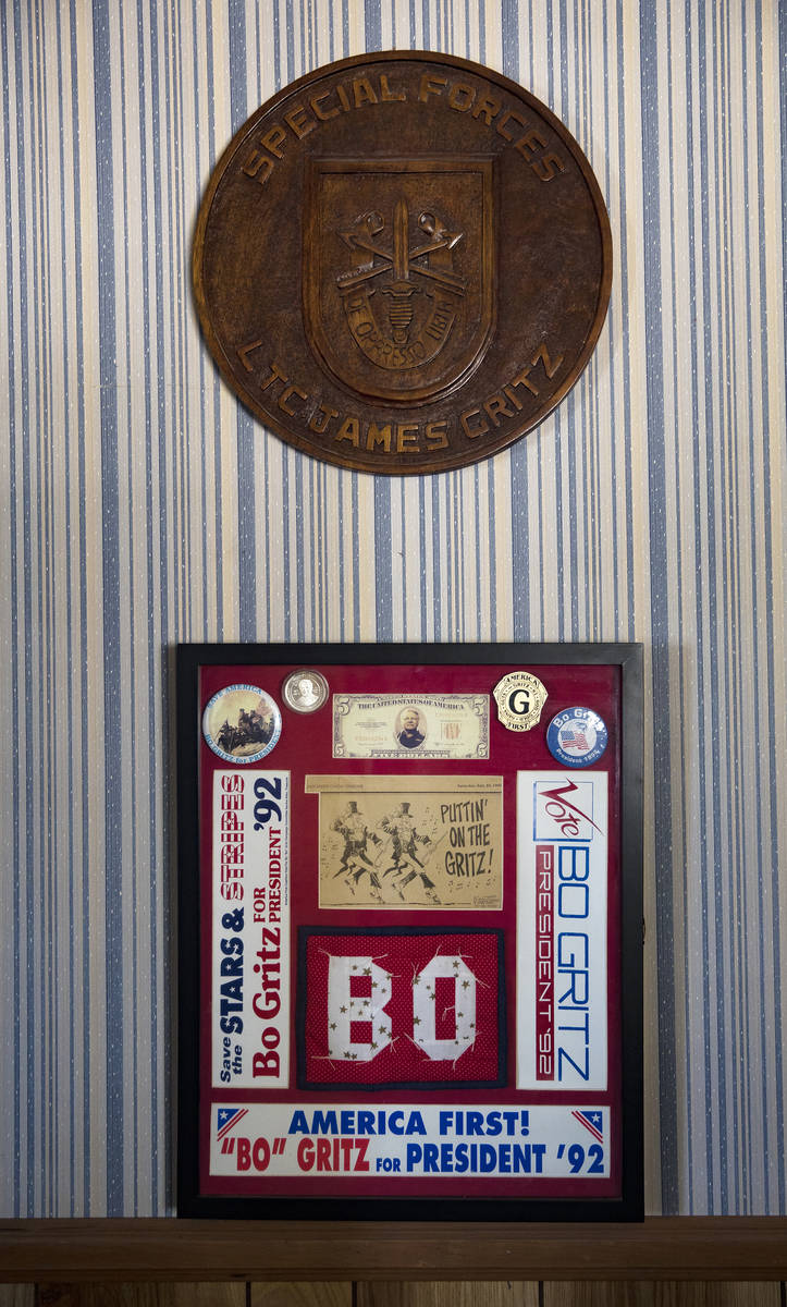 """Memorabilia from when James """"Bo"""" Gritz, a former U.S. Army Special Forces officer, ran for ..."""