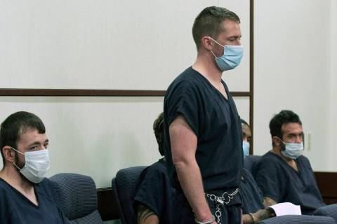 Benjamin Ames, center appears in a Henderson courtroom on Tuesday, Sept. 15, 2020. Ames is accu ...