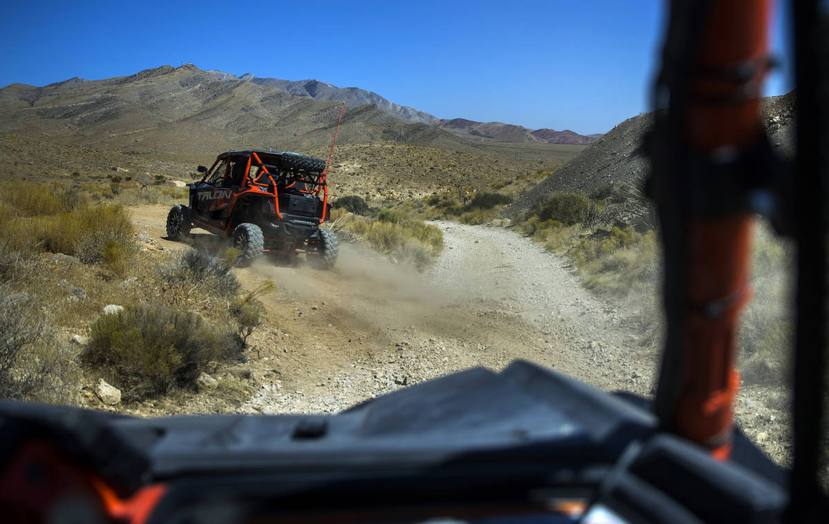 Honda Talons move along the miles of dirt trails at Adrenaline Mountain, which offers numerous ...