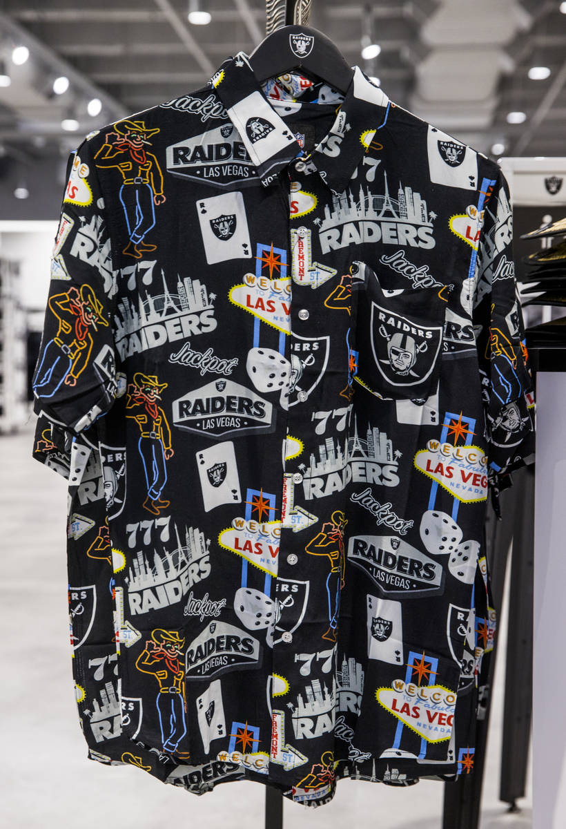 Shirts with a Las Vegas design are for sale within The Raider Image official team store inside ...