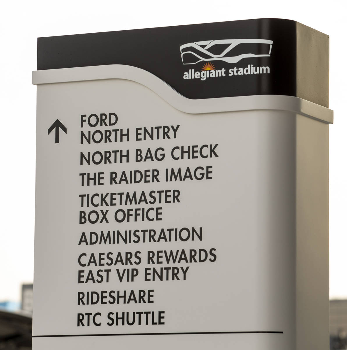 A directional post lists The Raider Image official team store and other significant spots insid ...