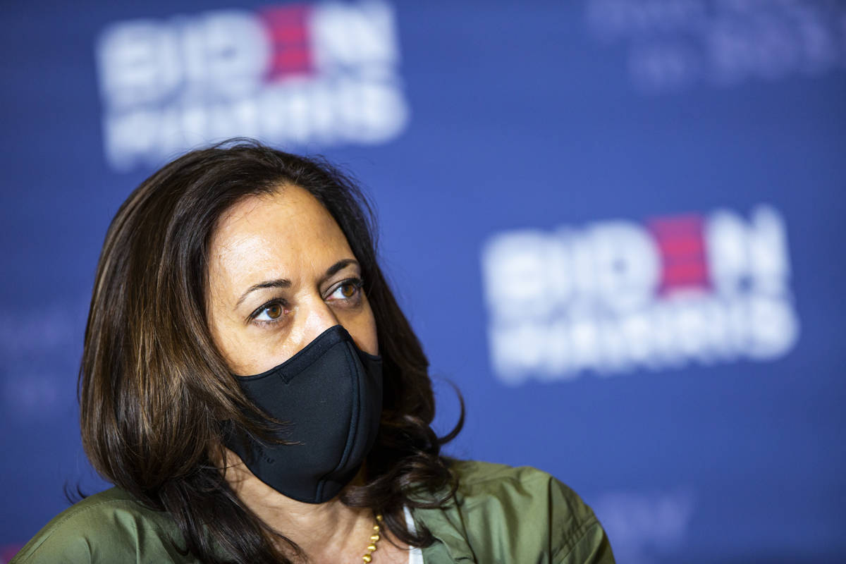 Democratic vice presidential candidate Sen. Kamala Harris, D-Calif., speaks during a roundtable ...
