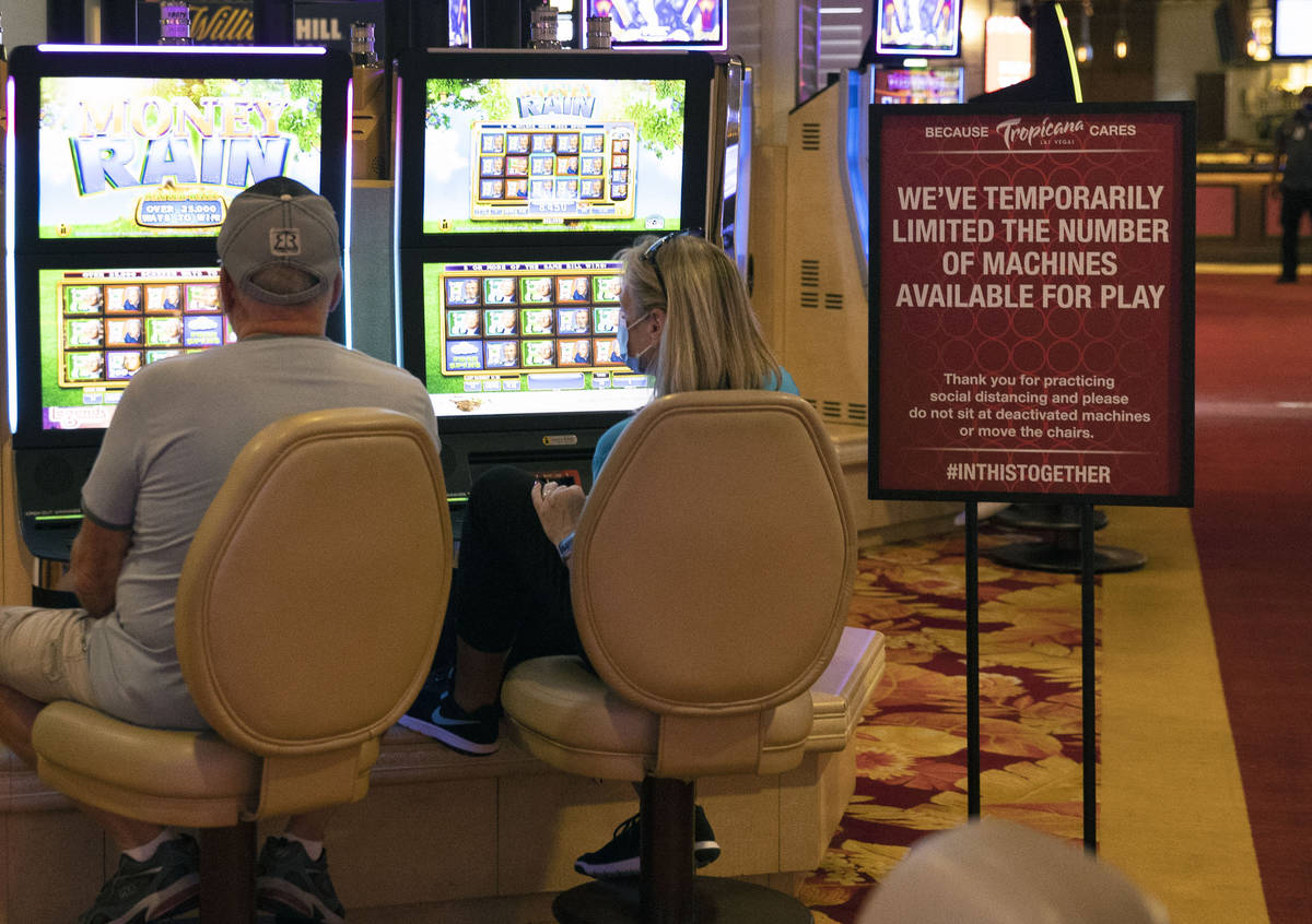Gusts gamble after the Tropicana hotel-casino reopens to public, on Thursday, Sept. 17, 2020, i ...
