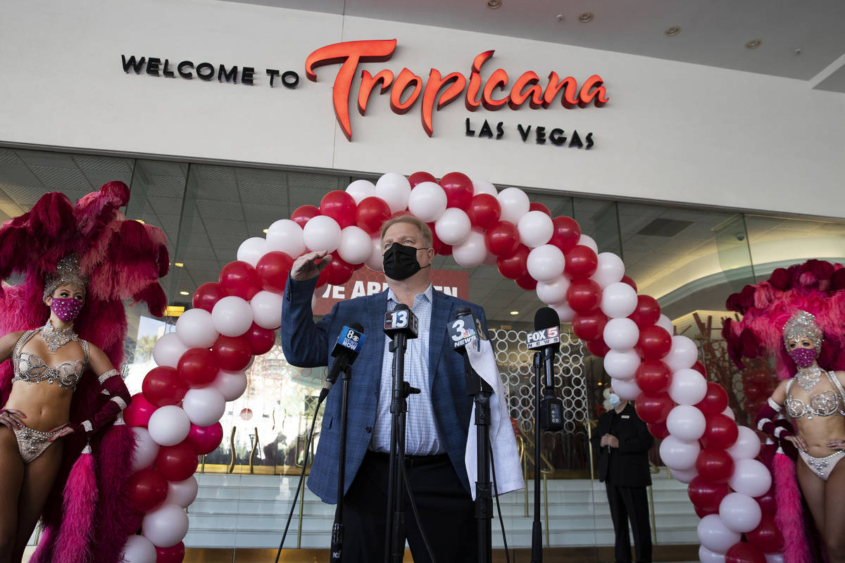 Mike Thoma, interim general manager of Tropicana Las Vegas, speaks during the reopening ceremon ...