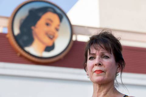 Sharon Beza, a former employee of Eastside Cannery hotel-casino, poses for a portrait outside h ...