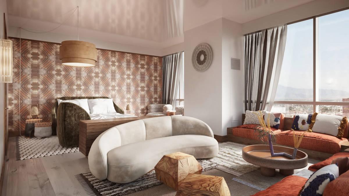 A rendering of a Virgin Hotels Las Vegas suite (courtesy Virgin Hotels Las Vegas)