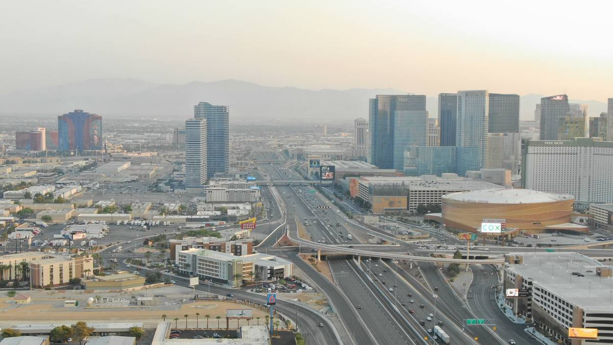 Reduced traffic on southbound Interstate 15 is seen in this arial shot as detectives investigat ...