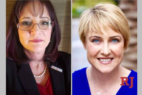 Lisa Guzman, left, and Liberty Leavitt, District A, Clark County School District Board of ...