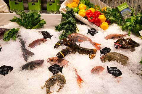 Fresh seafood on display at Estiatorio Milos inside The Cosmopolitan of Las Vegas on Saturday, ...