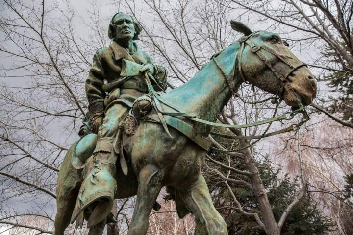 A statue of Kit Carson outside the Legislative Building on Thursday, Feb. 9, 2017, in Carson C ...
