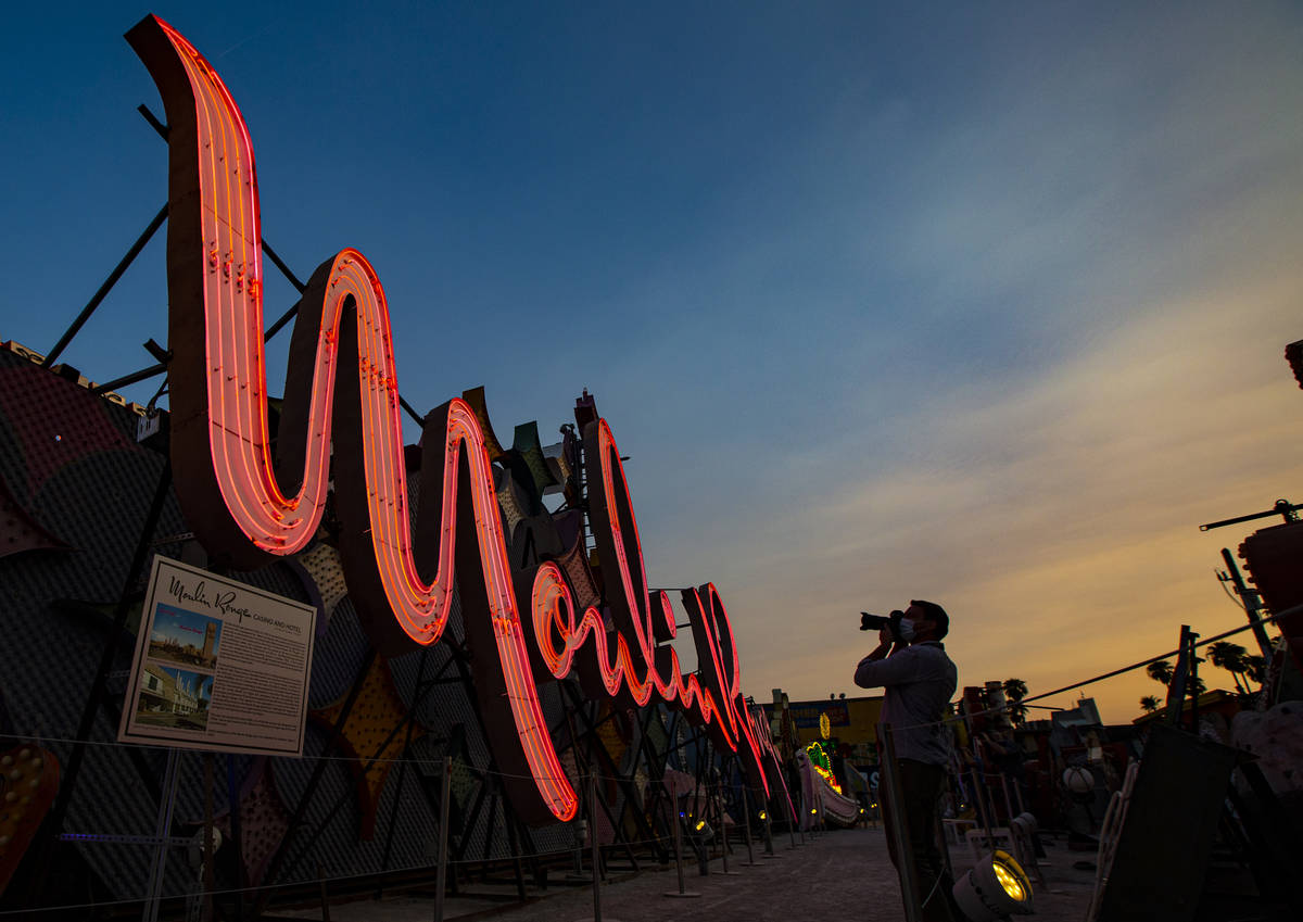 The Moulin Rouge sign is seen reilluminated at the Neon Museum in Las Vegas on Wednesday, Sept. ...