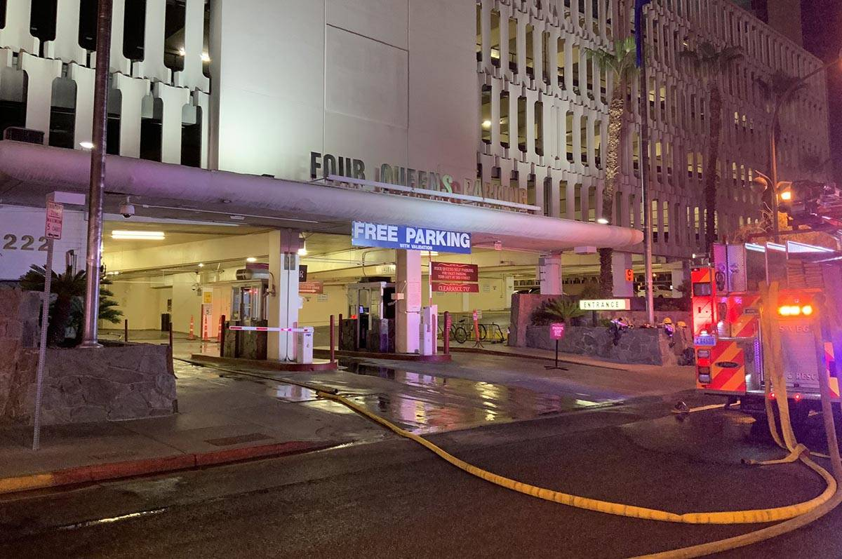 At least five vehicles caught fire at the 4 Queens Hotel & Casino parking garage early Thursday ...