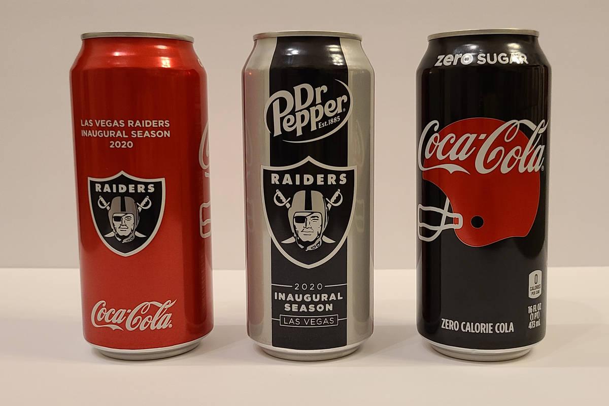 Las Vegas Raiders-branded Coca Cola and Dr. Pepper cans. (Rochelle Richards/Las Vegas Review-Jo ...