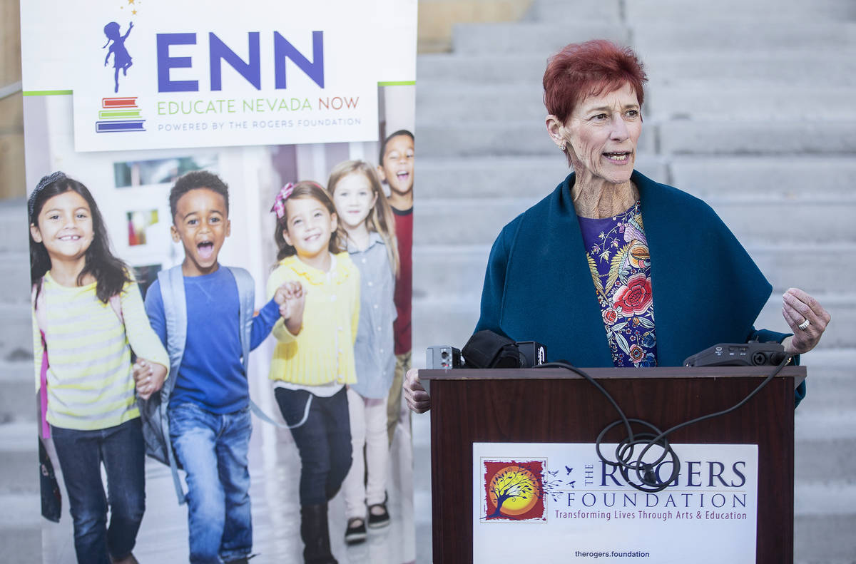 Beverly Rogers, chairman of The Rogers Foundation, speaks during a press conference on Wednesda ...