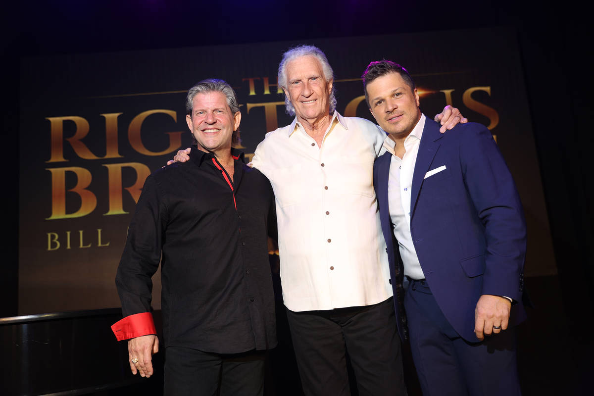 From left, Bucky Heard, Bill Medley and host Mark Shunock pose for a photo after participating ...
