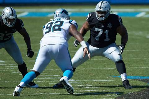 Las Vegas Raiders offensive tackle Denzelle Good (71) prepares to block Carolina Panthers defen ...