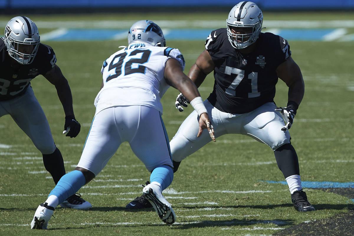 Las Vegas Raiders offensive tackle Denzelle Good (71) prepares to block Carolina Panthers defen ...