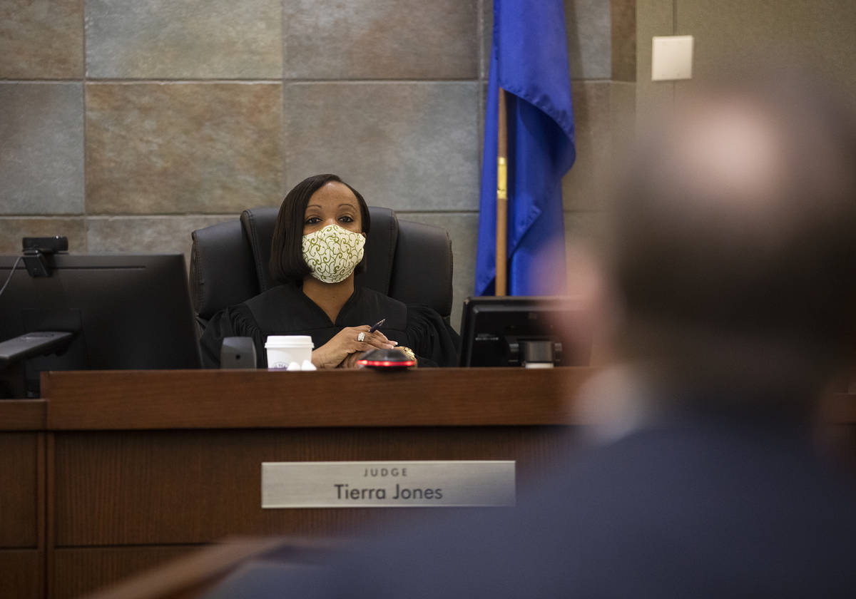 District Judge Tierra Jones addresses attorneys during an evidentiary hearing for Alisha Burns, ...