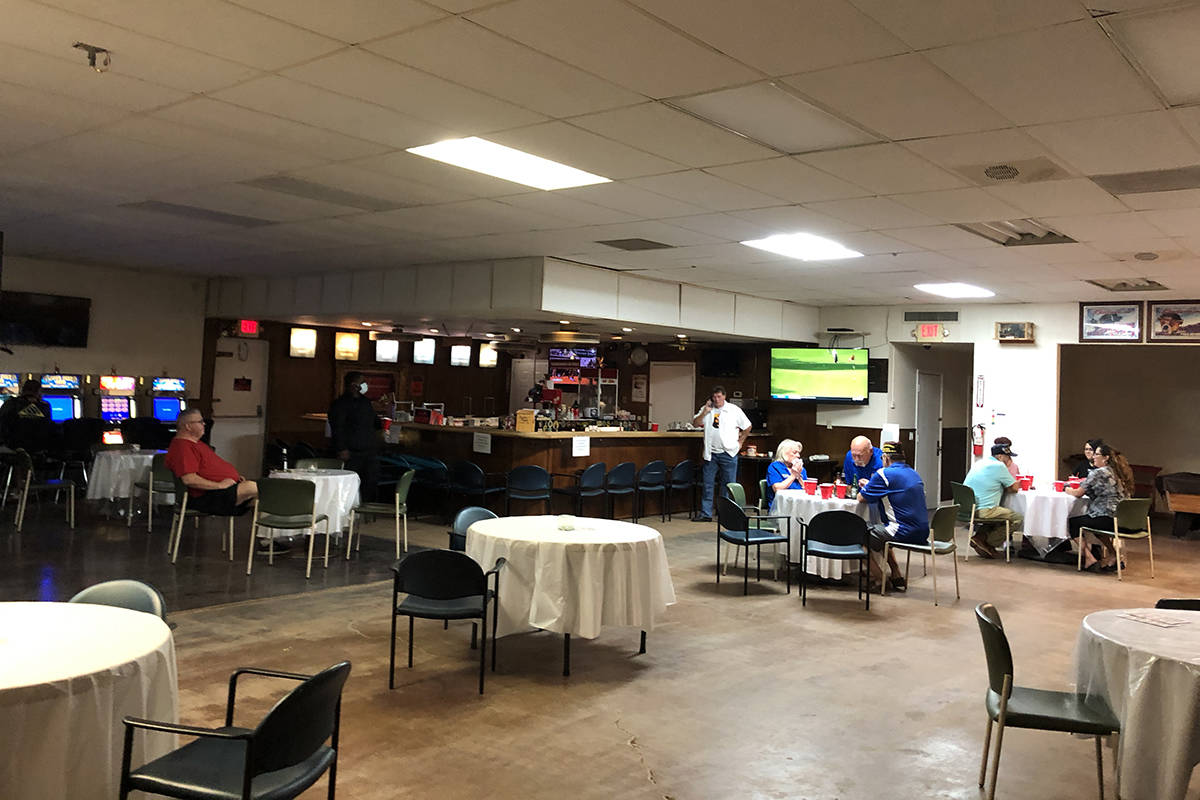 Canteen space of VFW Post 10047 in North Las Vegas, operating at half capacity, serving food an ...