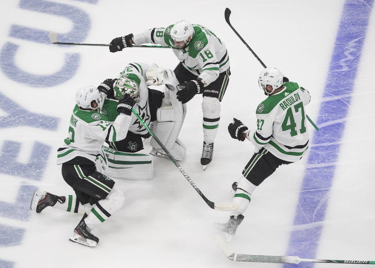 Dallas Stars goalie Anton Khudobin (35), Mattias Janmark (13), Alexander Radulov (47) and Jason ...