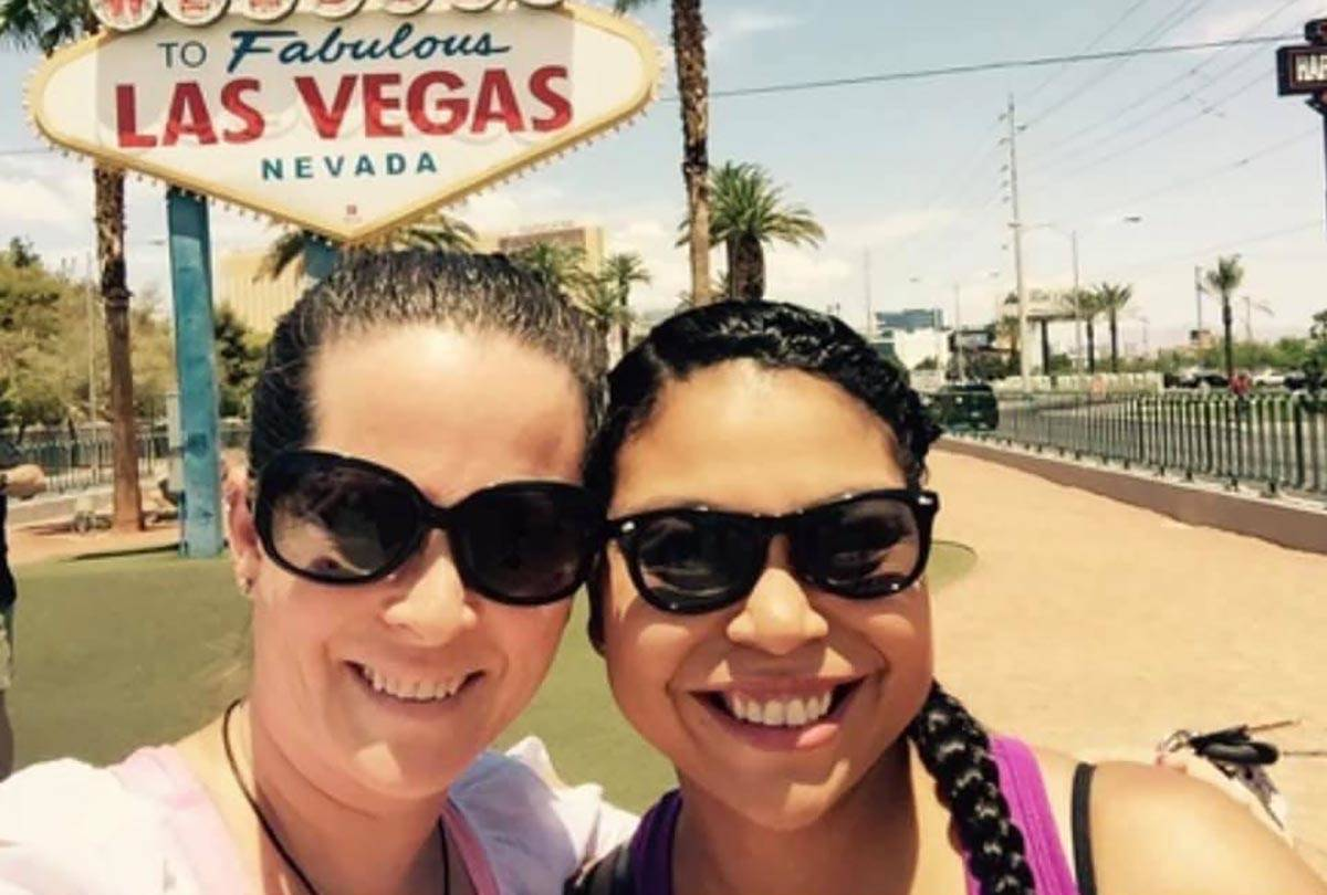 Dorinda Lene, left and Kamiah Bird, 37, at the Las Vegas sign in an undated photo. Bird was kil ...