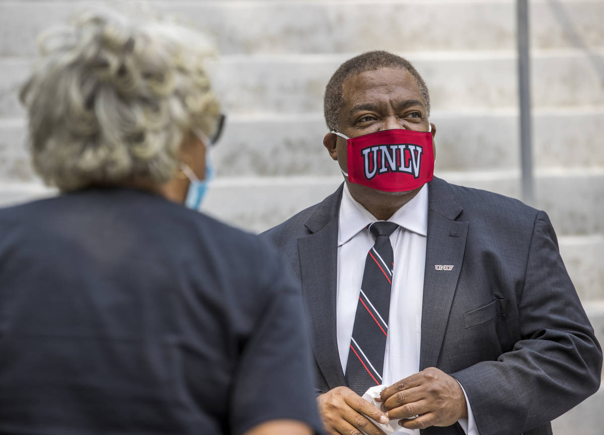 New UNLV president Keith Whitfield stops to chat for a minute while about campus on Friday, Sep ...