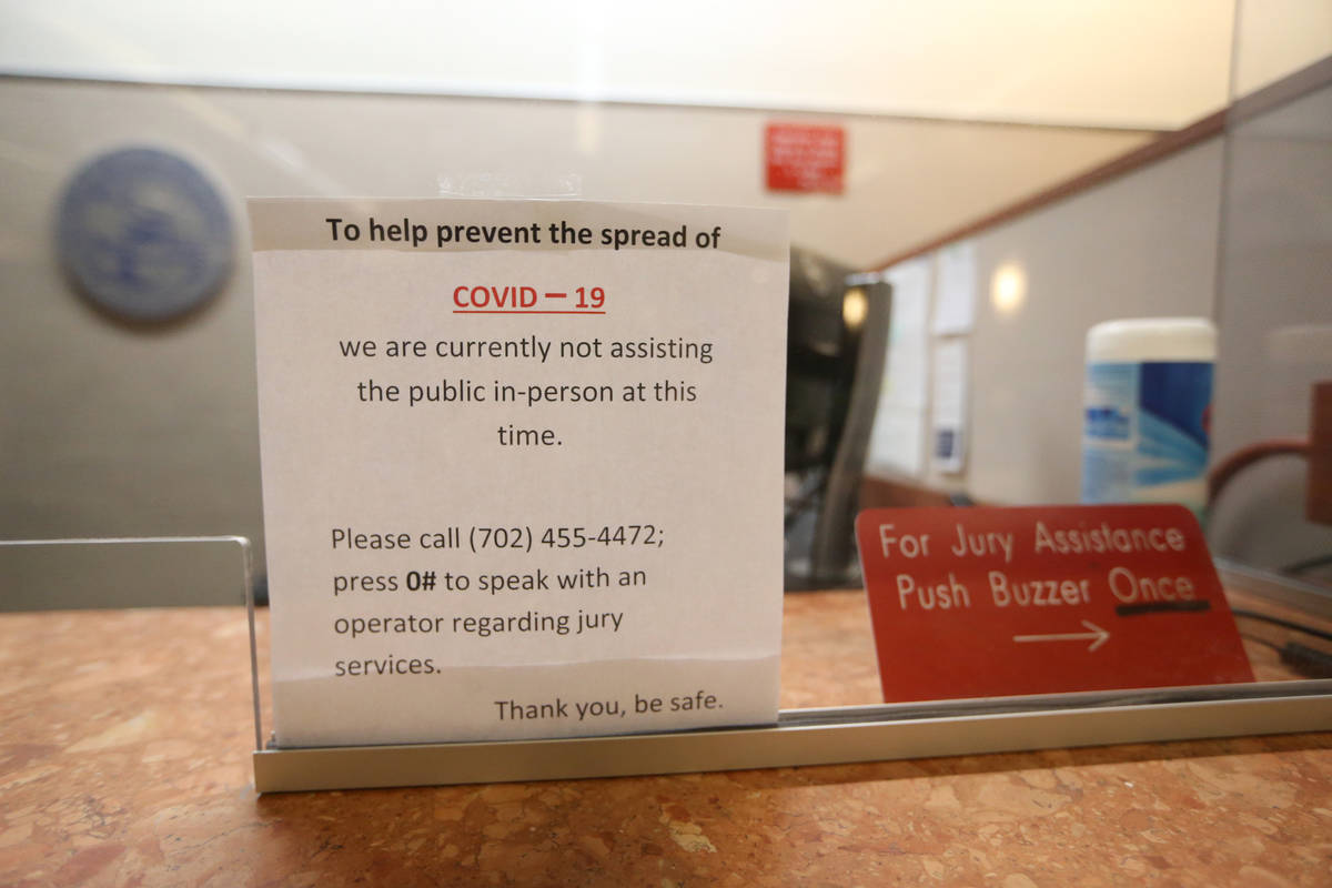 A sign inside the updated Regional Justice Center jury services room, which now complies with s ...