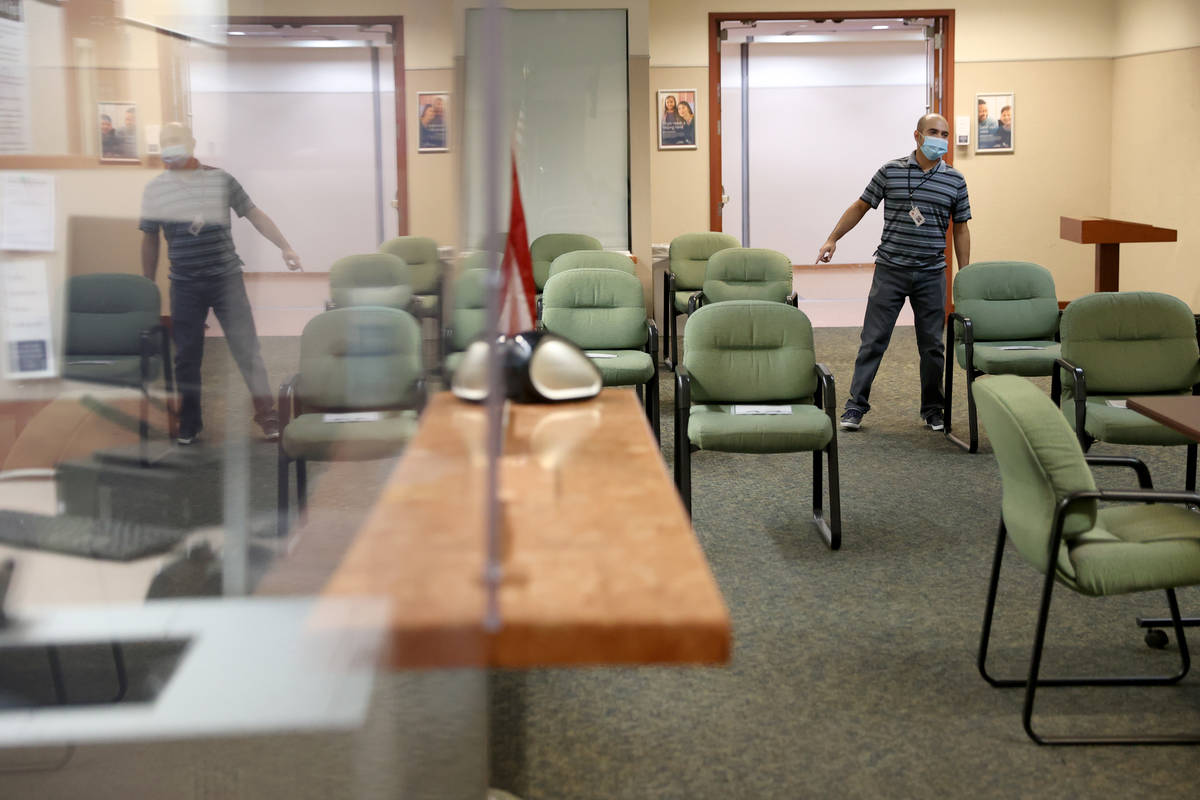 Andres Moses, assistant court administrator, stands inside the updated Regional Justice Center ...