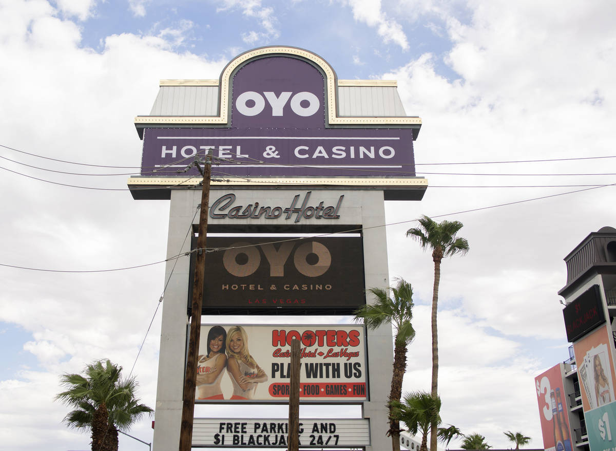 A temporary Oyo Hotel & Casino sign is displayed on the former Hooters hotel-casino marquee off ...