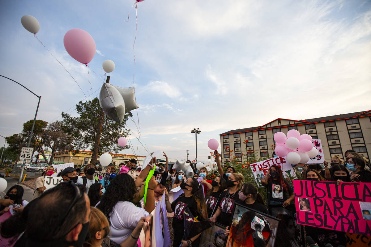 Balloons are released during a gathering in memory of Lesly Palacio, who was found slain near V ...