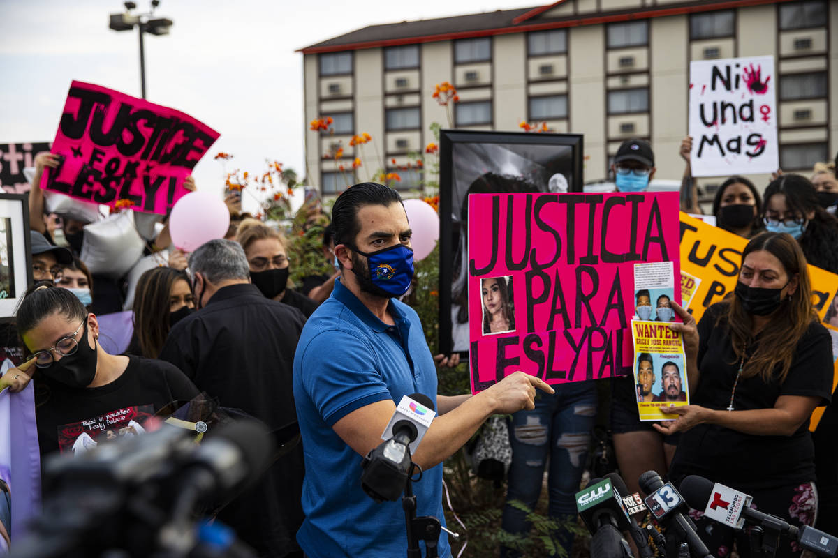 Former U.S. Rep. Ruben Kihuen speaks during a gathering in memory of Lesly Palacio, who was fou ...