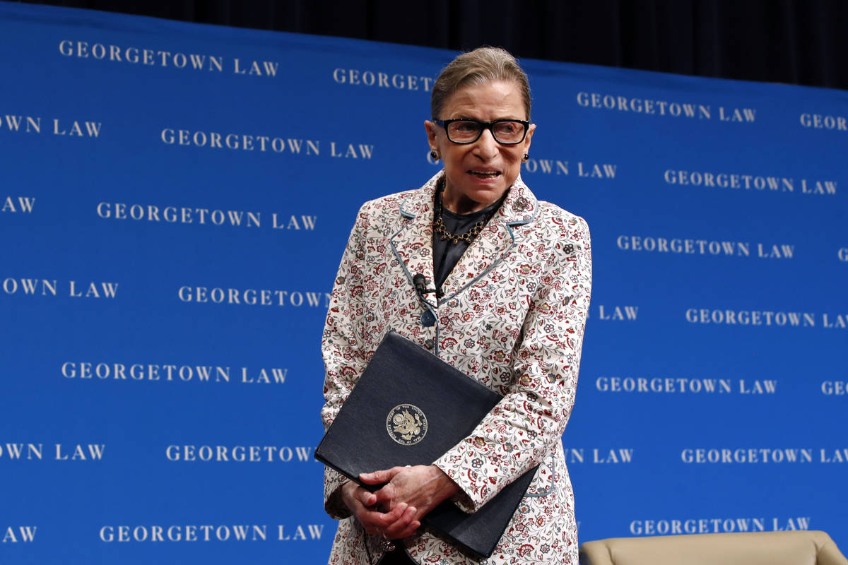 In this Sept. 26, 2018, file photo, Supreme Court Justice Ruth Bader Ginsburg leaves the stage ...