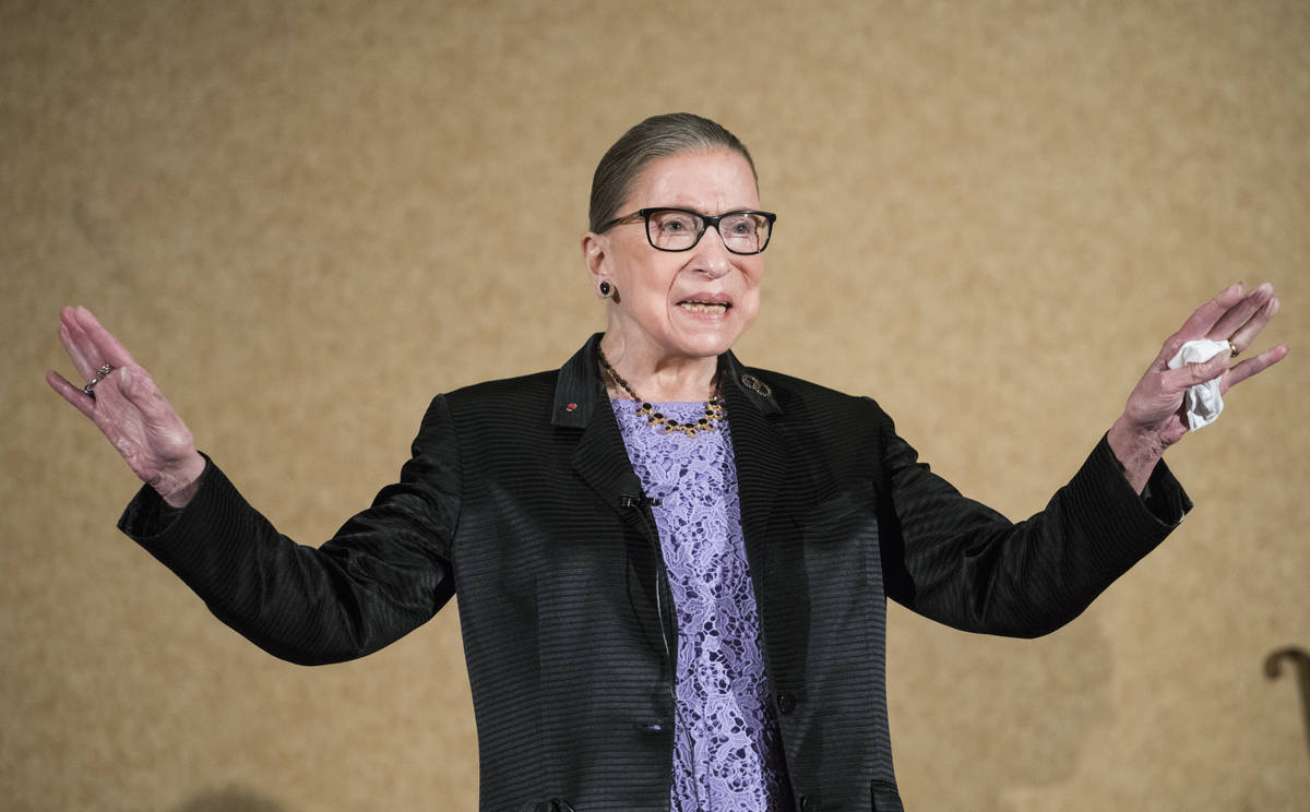 In this Aug. 19, 2016, file photo, Supreme Court Justice Ruth Bader Ginsburg is introduced duri ...
