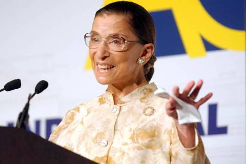 Supreme Court Justice Ruth Bader Ginsburg speaks at the American Constitution Society's first n ...
