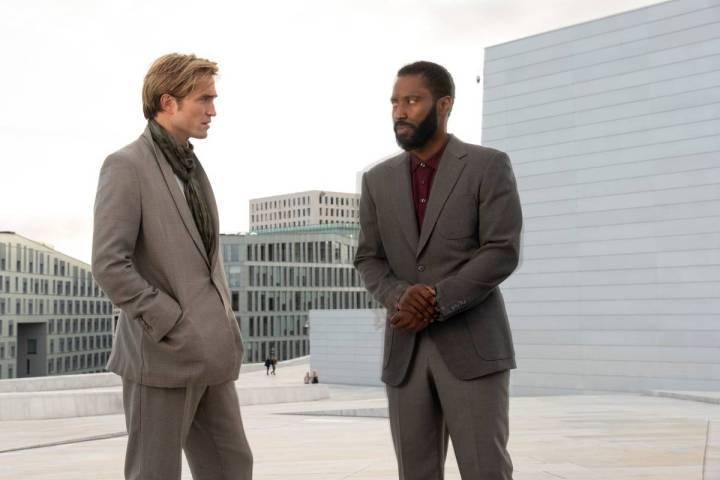 "Robert Pattinson, left, and John David Washington star in a scene from ""Tenet."" (Melinda Sue Go ..."