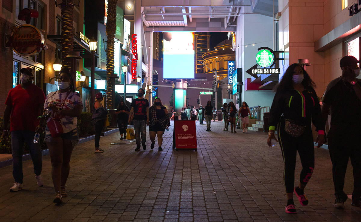 The Linq Promenade is quiet despite bars reopening for the first time in months on Monday, Sept ...