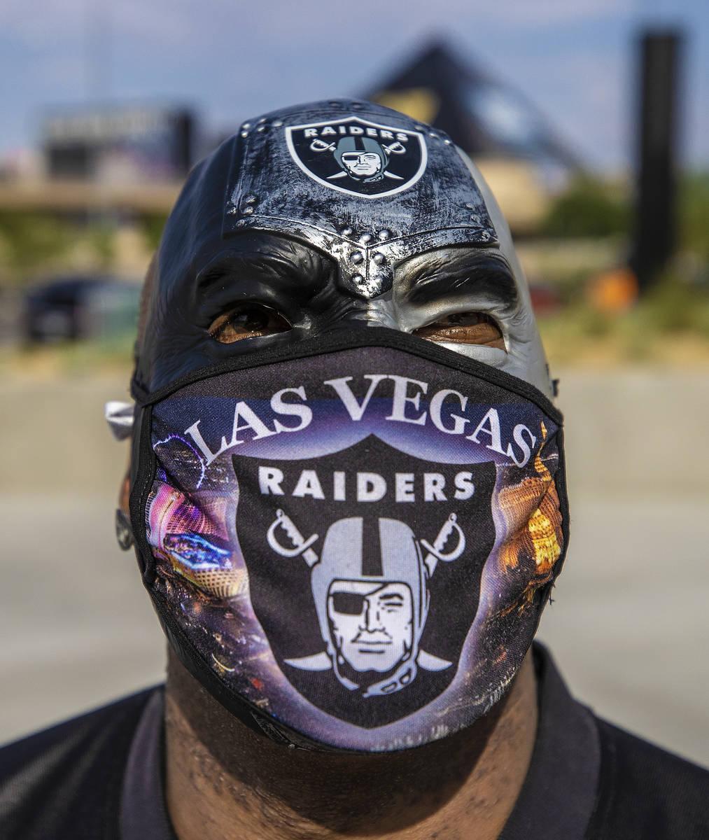 Vegas fan James Packer outside Allegiant Stadium before the start of an NFL football game betwe ...