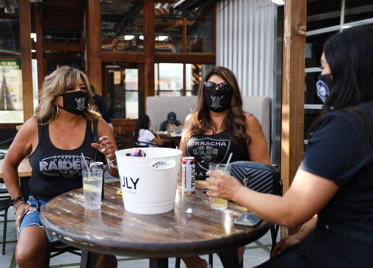 Rosemary Gonzales, left, hangs out with her friends Priscilla Romero, right, and Aleyx Duran, f ...