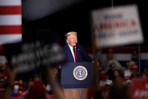 President Donald Trump speaks during a campaign rally at Xtreme Manufacturing on Sunday, Sept. ...