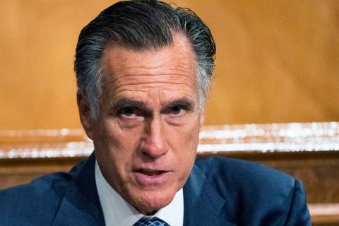 Senate Homeland Security and Governmental Affairs Committee member Sen. Mitt Romney, R-Utah, sp ...